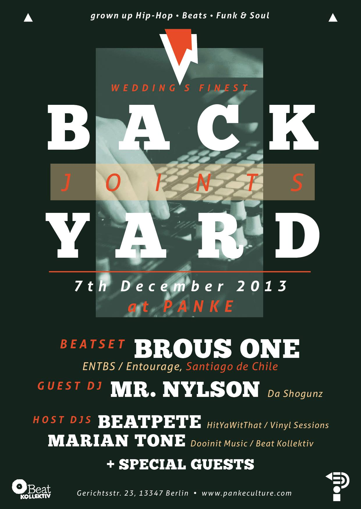 BACKYARD JOINTS @ Panke (Berlin) – Beat Set: Brous One / DJ's: Marian Tone, Mr. Nylson, BeatPete & Guests