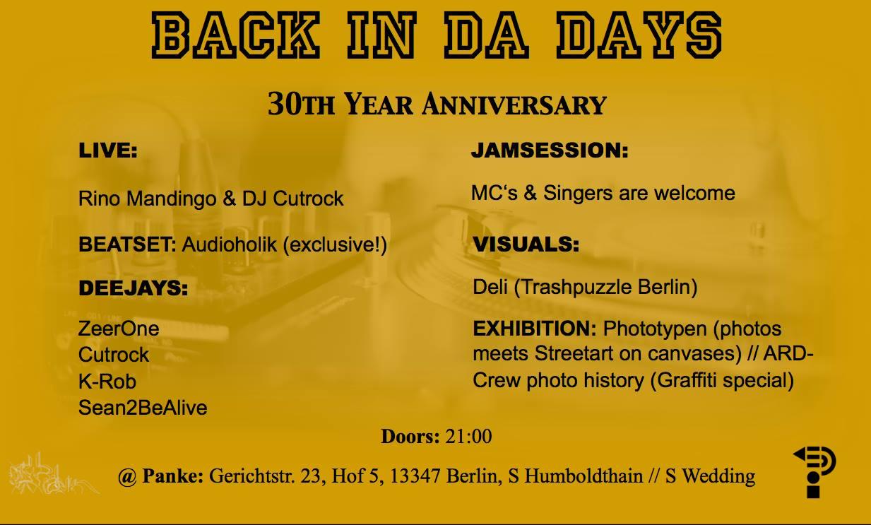 BACK IN DA DAYS – 30th Year Anniversary