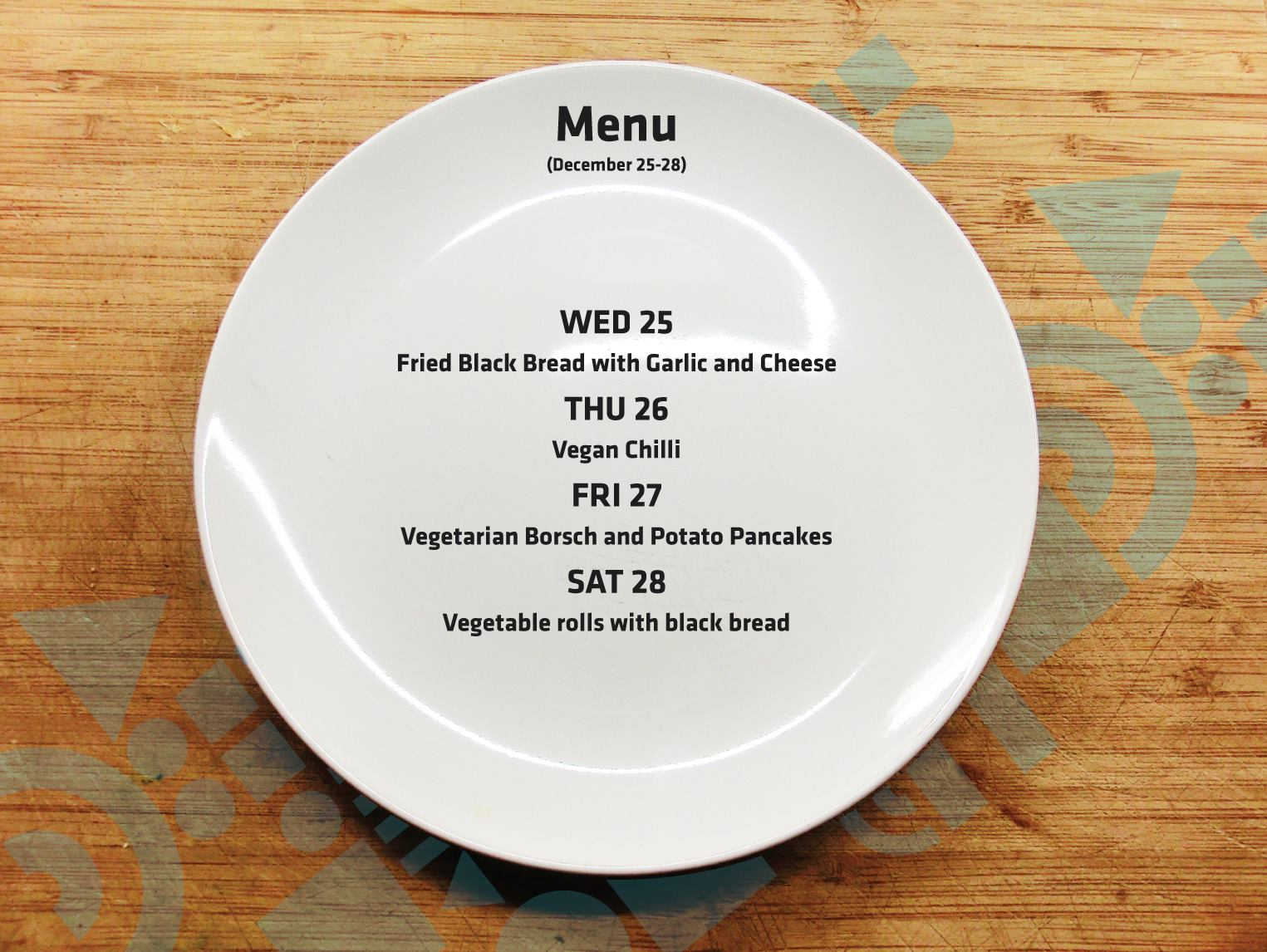 MENU: From 25th until December 28th