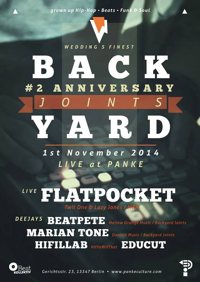 BACKYARD JOINTS 2nd ANNIVERSARY – Special Guests: FLATPOCKET (Twit One & Lazy Jones) @ Panke (Berlin)